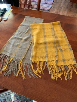 Valda M Scarf woven on 2 looms by Mike M.(Yellow on Ridged Heddle) and Valda M. (Sage on 4S loom)) From 1 kit.