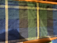 """Al N Al's version of the Tartan. This was 8 harness twill, on a 12 dent reed. Problem was I only had a 17"""" reed so the pattern was only one way, Count inches rather than threads, The Scottish registry publishes the thread count as Threadcount: W12B56K48G48K8Y12 meaning white 12, Blue 56, Black 48, Green 48, Black, 8, 12 Yellow."""