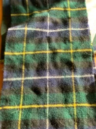 """Al N. Commercial Tartan.This was 8 harness twill, on a 12 dent reed. Problem was I only had a 17"""" reed so the pattern was only one way, Count inches rather than threads, The Scottish registry publishes the thread count as Threadcount: W12B56K48G48K8Y12 meaning white 12, Blue 56, Black 48, Green 48, Black, 8, 12 Yellow."""