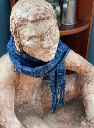 Barb B. color and weave rigid heddle scarf using worsted wool.