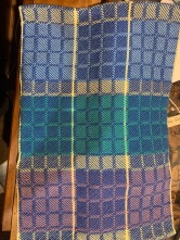 Al N Dish towel, analogous colors violet, aqua, blue 5/2 ? Cotton 12 dent reed block weave pattern from carol strickler 8 shaft pattern book