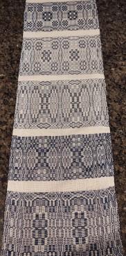 Jan M Over shot with Indigo dyed yarn. 10/2 cotton- warp/ 5/2 cotton- pattern