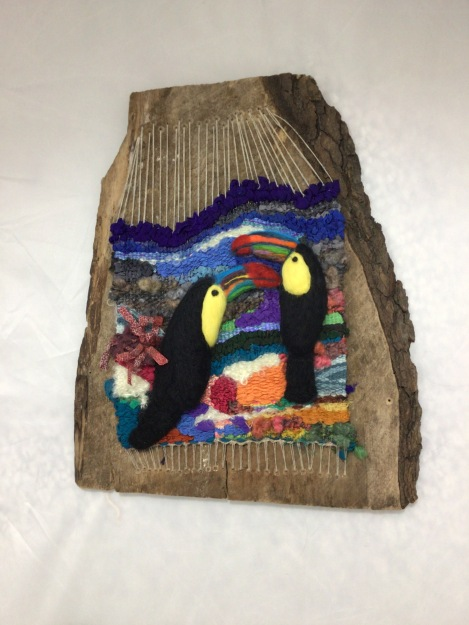 Linda A Tapestry and Needle Felted Tucans