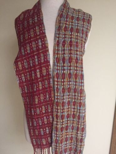 Ellen G-B Deflected Double weave scarf. From a workshop with a modification in treadling. 2600 Rare Earth Yarns
