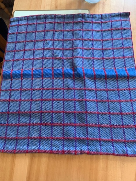 Al N. Woven Towels to match the colors of his new Harley.Trying to match colors on a motorcycle. Used Ashford 5/2 cotton. Used a 20 dent reed, block weave.