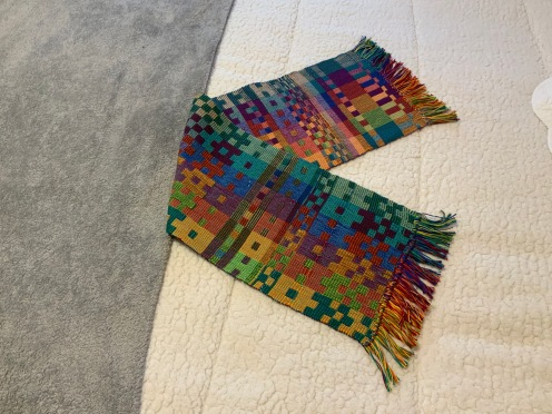 Lee A Double Weave Rainbow from the Jennifer Moore Workshop. Showing both sides of the cloth