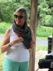 Phyllis's not quite a triangle scarf. Knit-not woven- but we all agreed it could be woven.