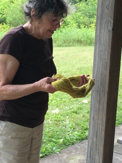 Claudia didn't get a chance to weave but spent some time natural dyeing